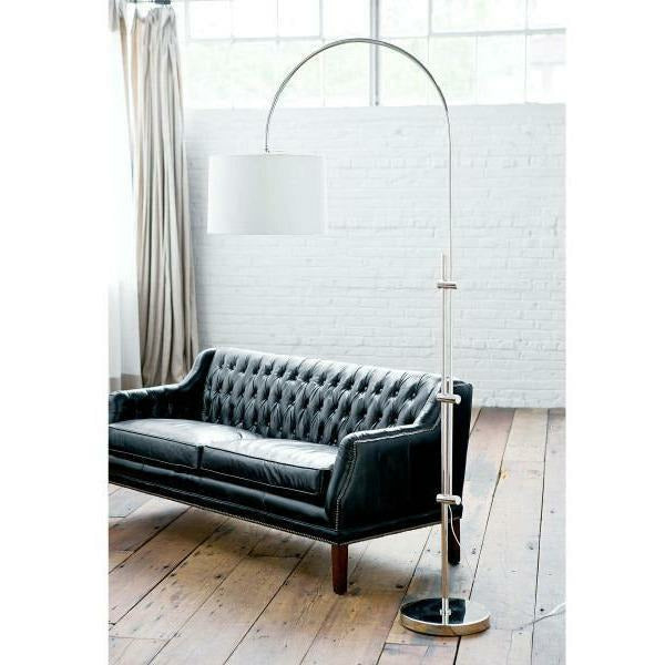 Regina Andrew Arc Floor Lamp With Fabric Shade (Polished Nickel) - Heaven's Gate Home & Garden