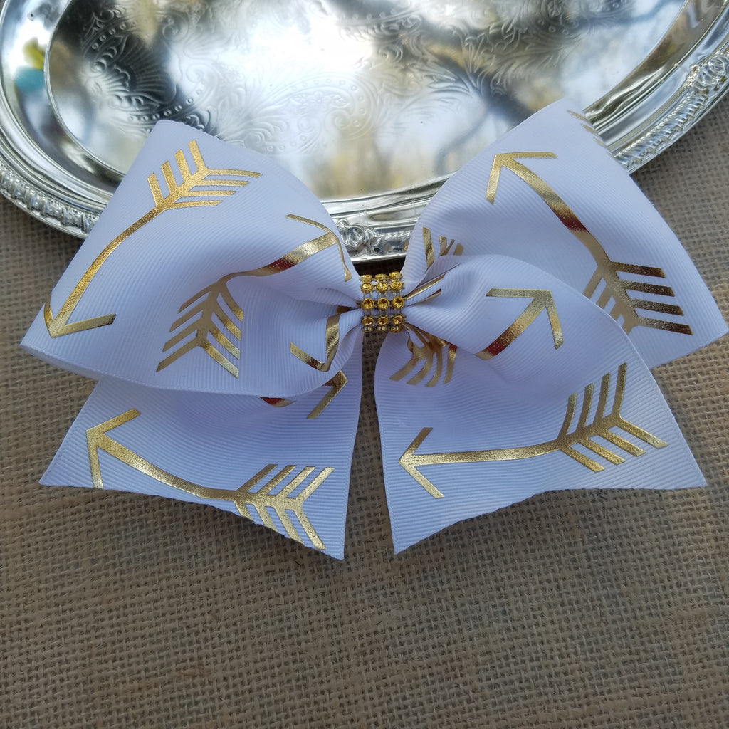 Gold Arrow Cheer Bow