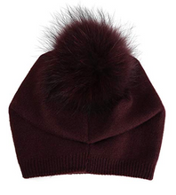 Load image into Gallery viewer, Cashmere Fur Detachable Fur Pom Hat