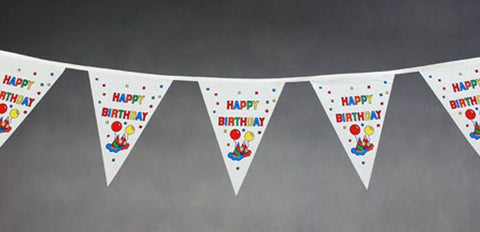 Happy Birthday String Flags White