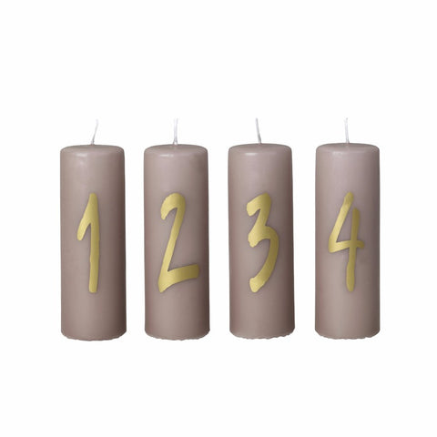 Advent Candles, golden numbers