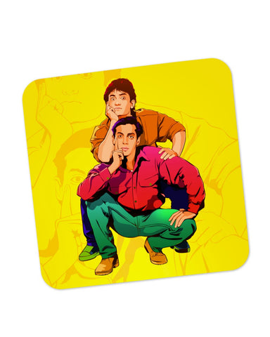 Buy Coasters Online | Andaz Apna Apna Aamir Khan Salman Khan Do Dost Ek Pyaale Quote Coaster Online India | PosterGuy.in