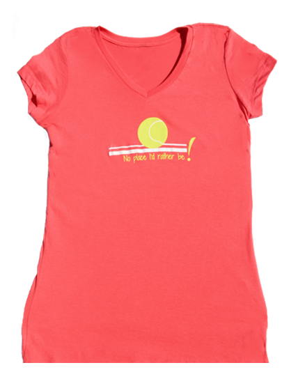 No Place V-neck 100% cotton T-shirt in Coral