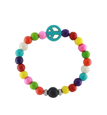 Kids Girls Colorful Peace Beaded Lava Essential Oil Aromatherapy Diffuser Bracelet