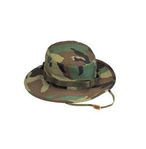 Boonie Hat Woodland Camo-100% Rip-Stop or Poly/Cotton Blend