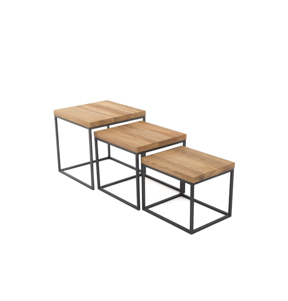 Calia Nest of Side Tables - Oak & Iron