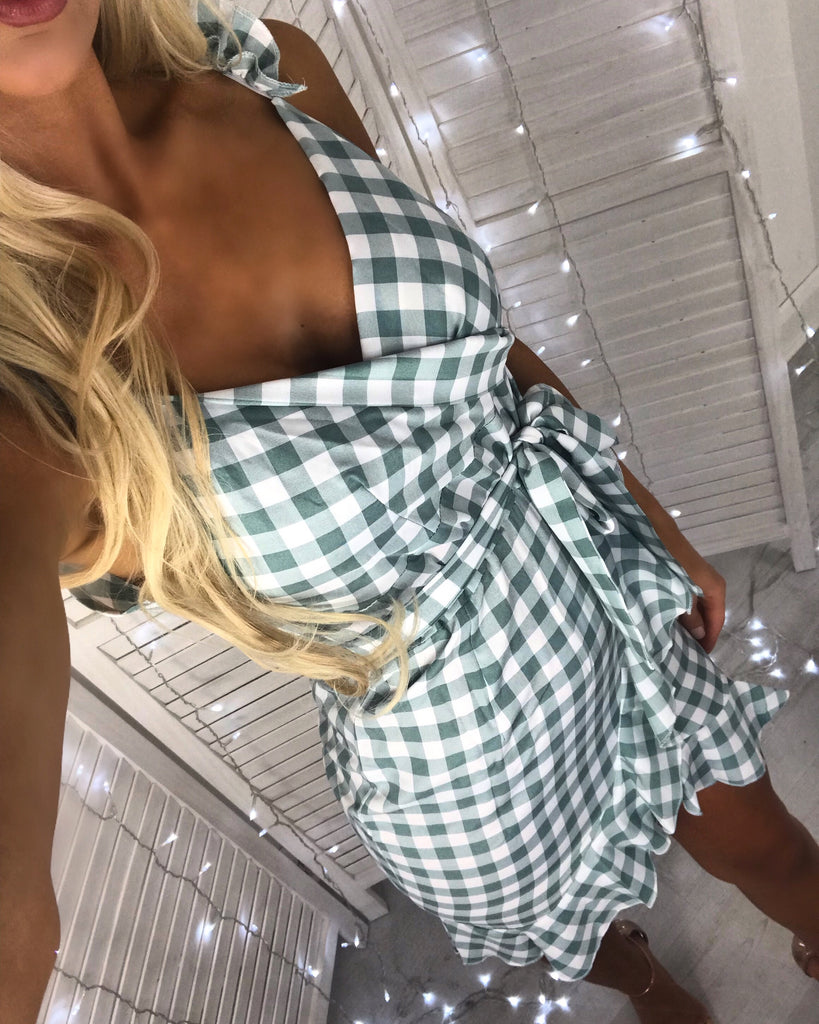 'Cassia' Green & White Gingham Wrap Frill-Dress with Tie-Belt