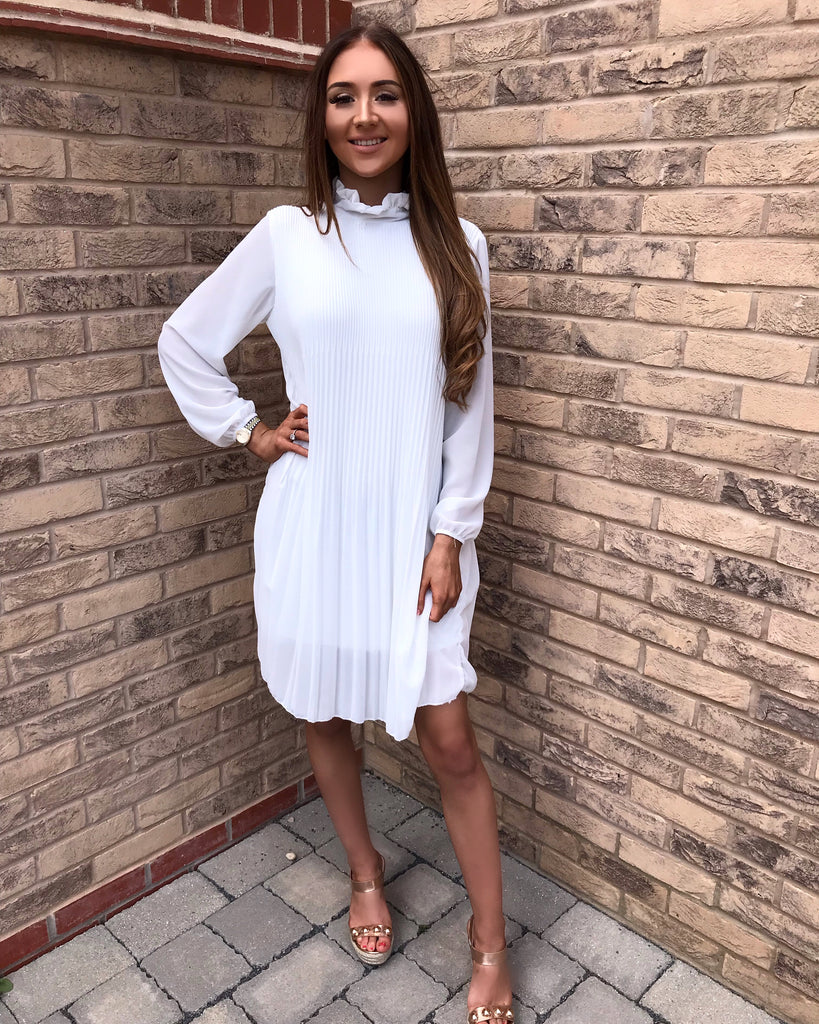 'Charlotte' White Pleated High-Neck Dress