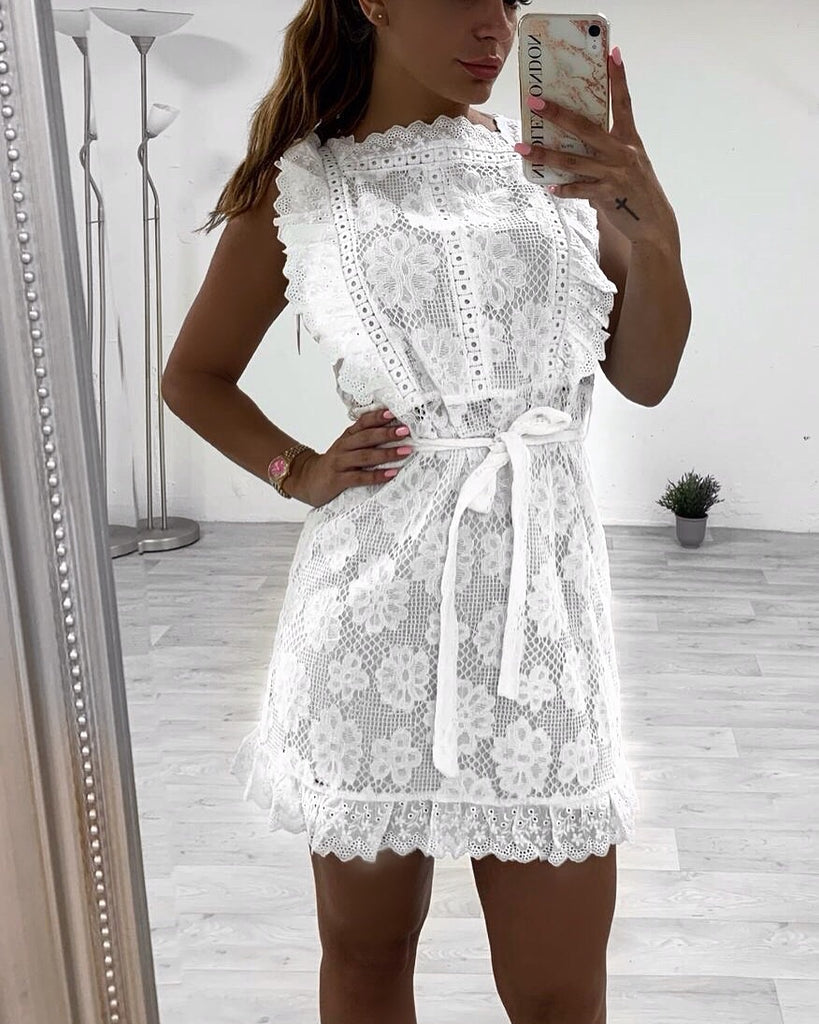 'Harley' White Crochet Lace Dress with Tie-Belt