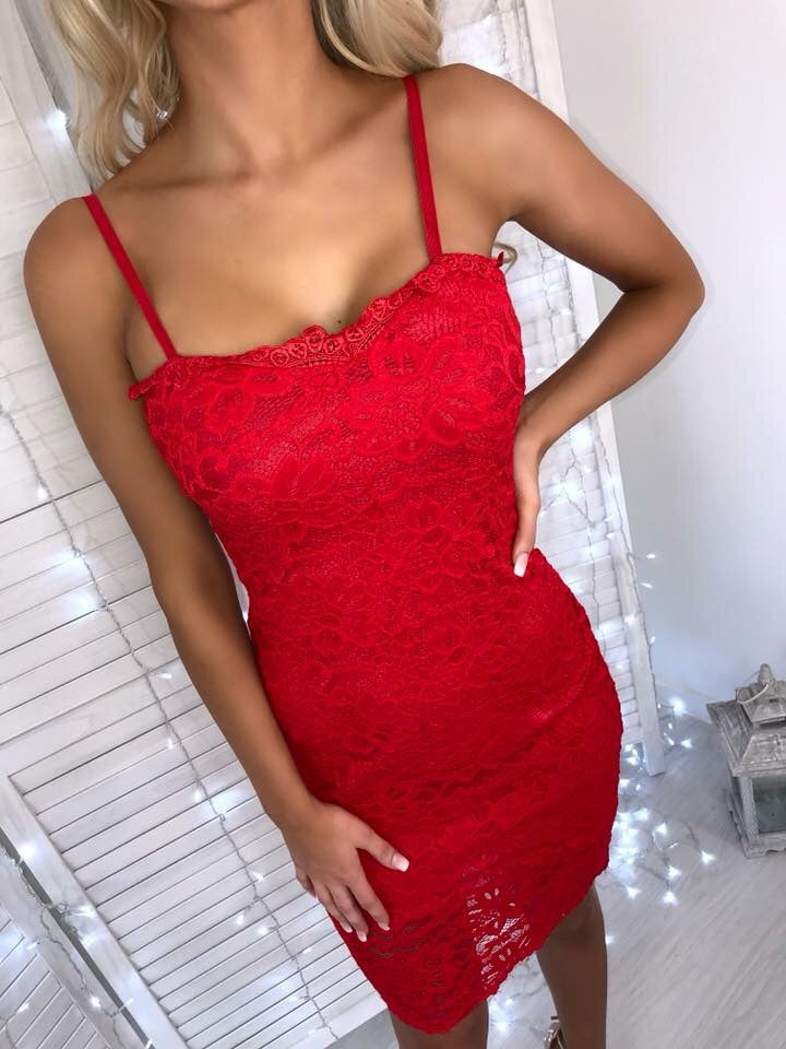 'Rosabelle' Red Lace Bodycon Midi Dress