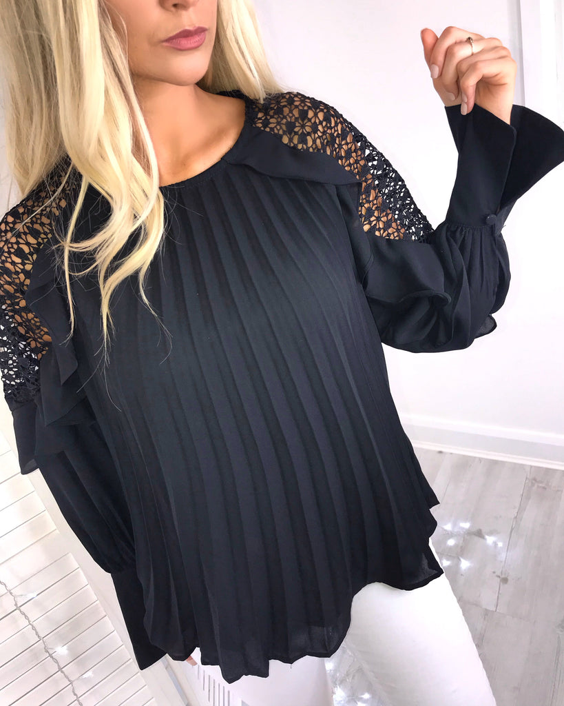 'Callie' Black Pleated Lace Detail Blouse