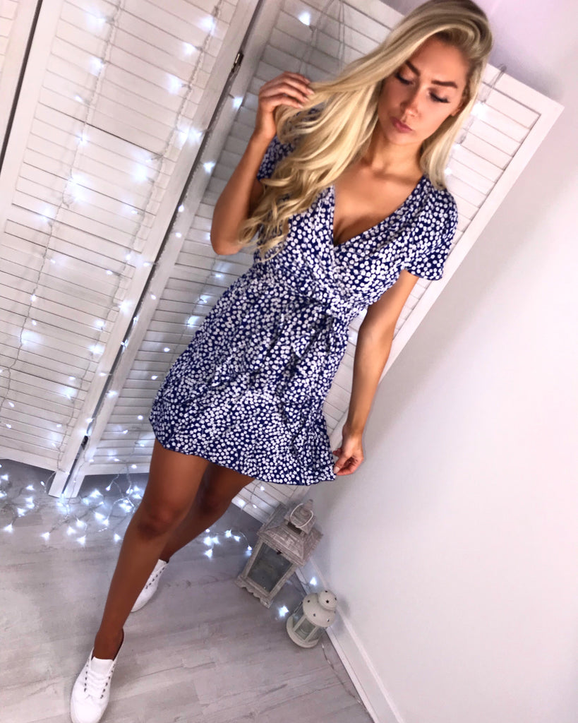 'Maria' Blue Floral Wrap Style Dress