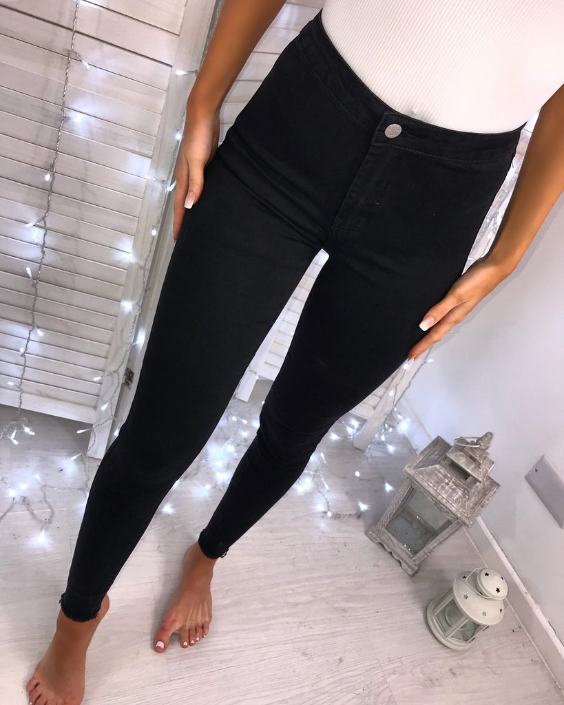 'Drew' Black High-Waisted Skinny Jeans