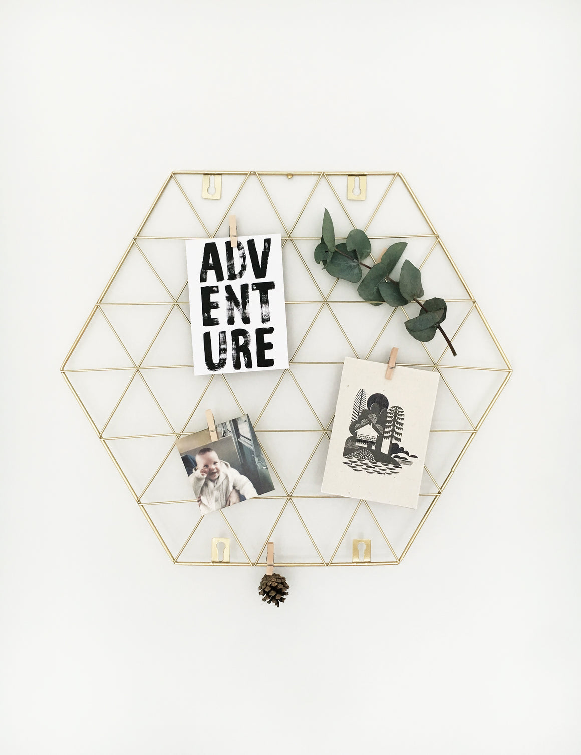 Gold Geometric Wire Photo Noticeboard