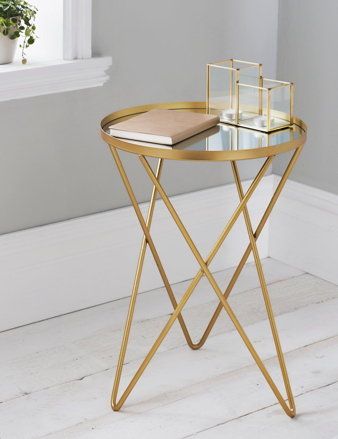 Gold Hairpin Leg Side Table