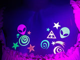 neon rave space costume alien glow stickers by sasswear