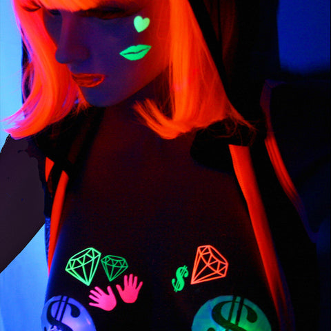 blacklight diamond bling body stickers