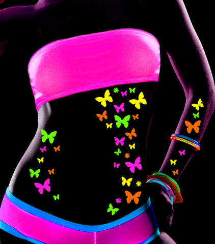 butterfly blacklight glow body stickers by sasswear