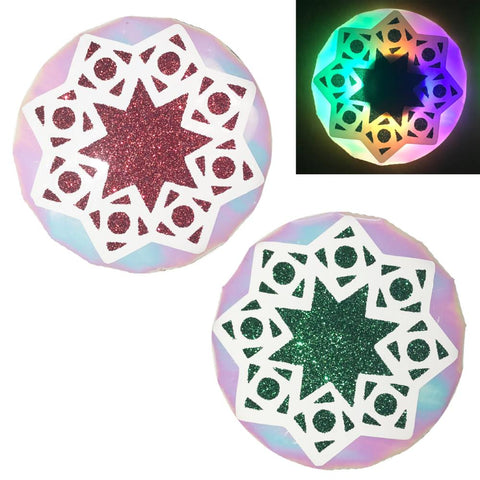 LED Pasties Holiday Star Red Green by Sasswear