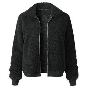 Akele Teddy Fleece Bomber Jacket Black