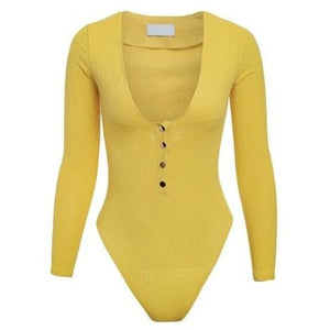 Delia Ribbed Bodysuit Yellow