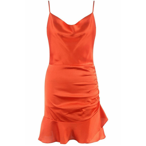 Erica Satin Ruched Mini Dress Tangerine