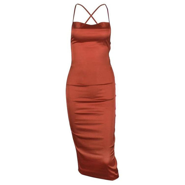 Eserno Satin Dress Copper