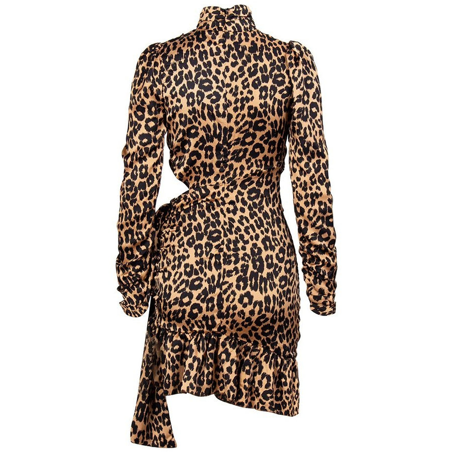 Kenya Leopard Print Satin Dress