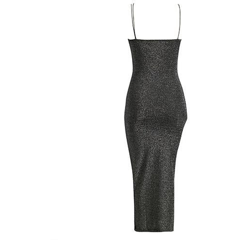 Reginae Glitter Midi Dress Black