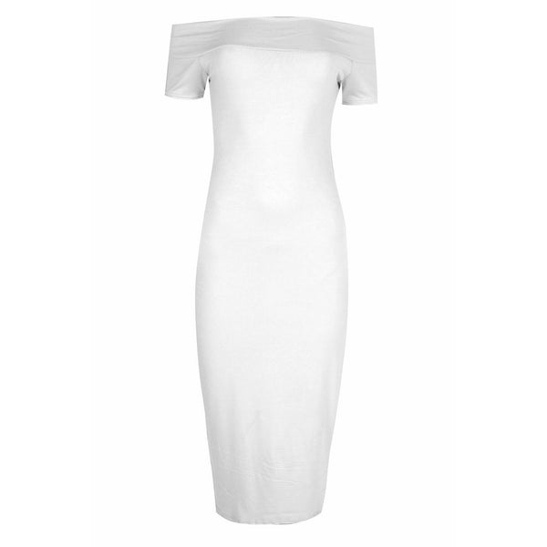 Tessa Bardot Dress White