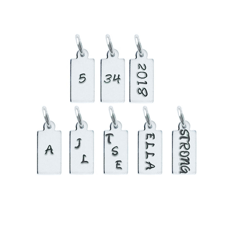 Rectangle Charm: Personalize up to 5 letters/numbers