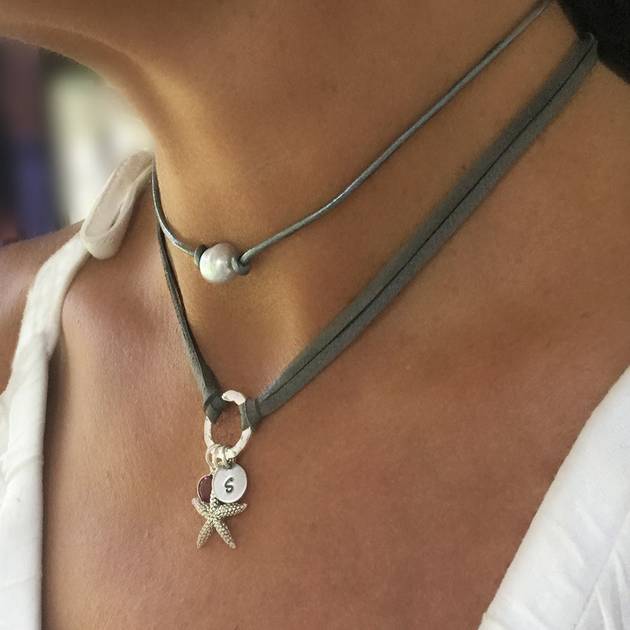 Leather Choker with Hammered Circle