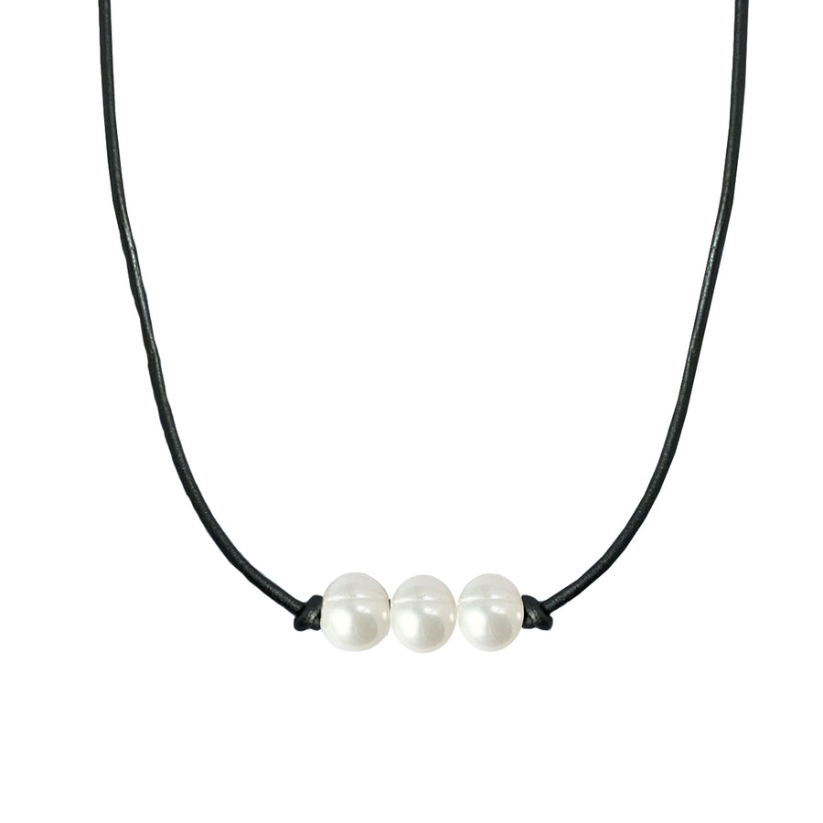 Triple Pearl and Leather Choker