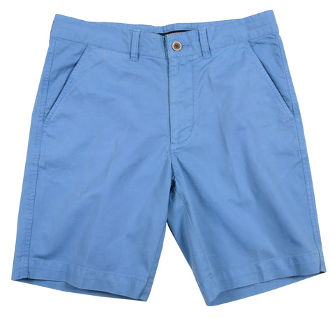 "Sunny Stretch Twill<br>Flat Front Short<br>Azure Blue<br>9"" Inseam"