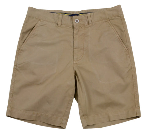 "Sunny Stretch Twill<br>Flat Front Short<br>British Tan<br>9"" Inseam"