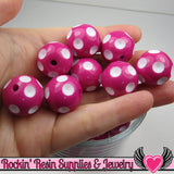 20mm POLKA DOT BEADS, Fuchsia Pink chunky bubblegum beads, 10 ct - Rockin Resin  - 1
