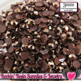 300 pc 3mm AB Golden Chocolate Brown Jelly Rhinestones