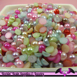 200 pcs 5 mm Bright Pastel Mix Flatback Half Pearls - Rockin Resin  - 1