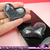 HUGE PUFFY Black Glitter HEART Resin Decoden Flatback Kawaii Cabochons 49x38mm (3 pieces) - Rockin Resin