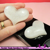 HUGE PUFFY White Glitter HEART Resin Decoden Flatback Kawaii Cabochons 49x38mm (3 pieces) - Rockin Resin
