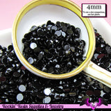 200 pcs 4mm  JET BLACK RHINESTONES Flatback Great Quality 16ss - Rockin Resin  - 1