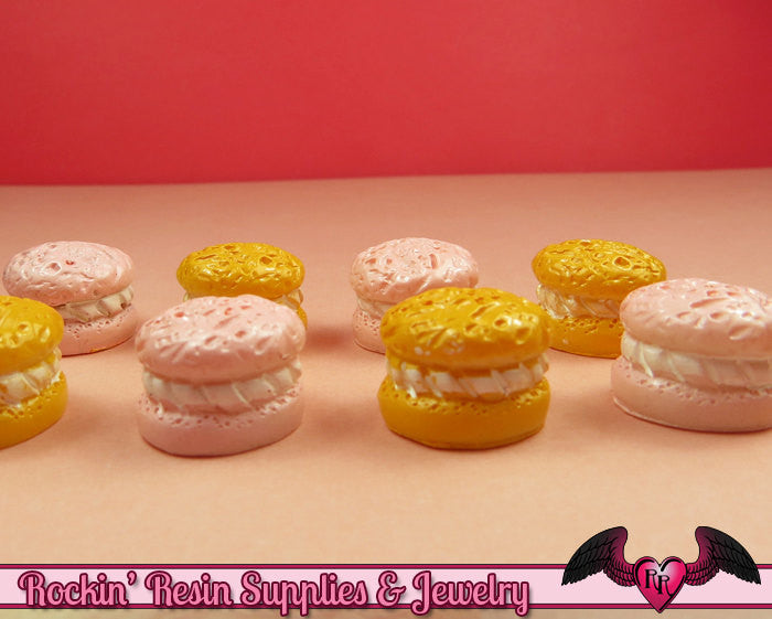 6 pc CREME PUFF Pastry Mini Sweets Resin Decoden Flatback Kawaii Cabochons 15x12mm - Rockin Resin  - 1