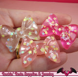 CONFETTI STAR BOWS Kawaii Cabochons / Flatback Decoden Resin Cabochons (5 pieces) - Rockin Resin