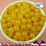 16mm Jelly YELLOW GUMBALL Beads (20 pieces) Round Acrylic Beads - Rockin Resin  - 2