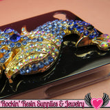 XL BLUE PEACOCK Crystal Covered Gold Alloy Bird Decoden Cabochon Cellphone Decoration - Rockin Resin  - 2