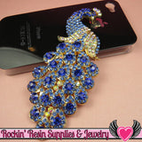 XL BLUE PEACOCK Crystal Covered Gold Alloy Bird Decoden Cabochon Cellphone Decoration - Rockin Resin  - 3
