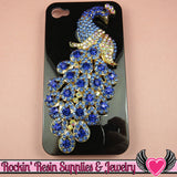 XL BLUE PEACOCK Crystal Covered Gold Alloy Bird Decoden Cabochon Cellphone Decoration - Rockin Resin  - 1