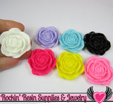 Colorful Mix 34mm Flower Cabochons (5 pieces) Rose Cabochons - Rockin Resin  - 3
