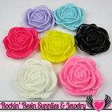 Colorful Mix 34mm Flower Cabochons (5 pieces) Rose Cabochons - Rockin Resin  - 1