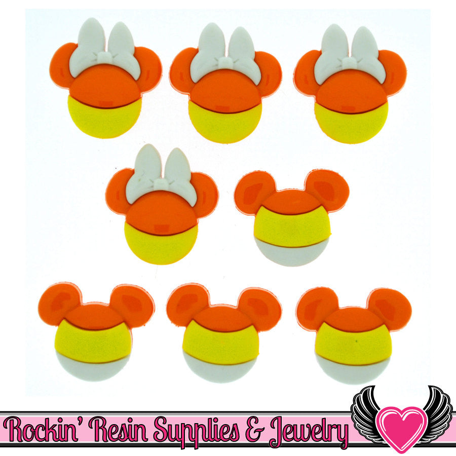 Disney Minnie & Mickey Mouse Halloween Candy Corn Heads Licensed Buttons - Rockin Resin  - 1